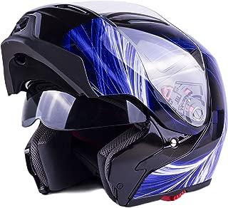 Typhoon Modular Motorcycle Helmet DOT Dual Visor Full Face Flip-up - Blue XXL