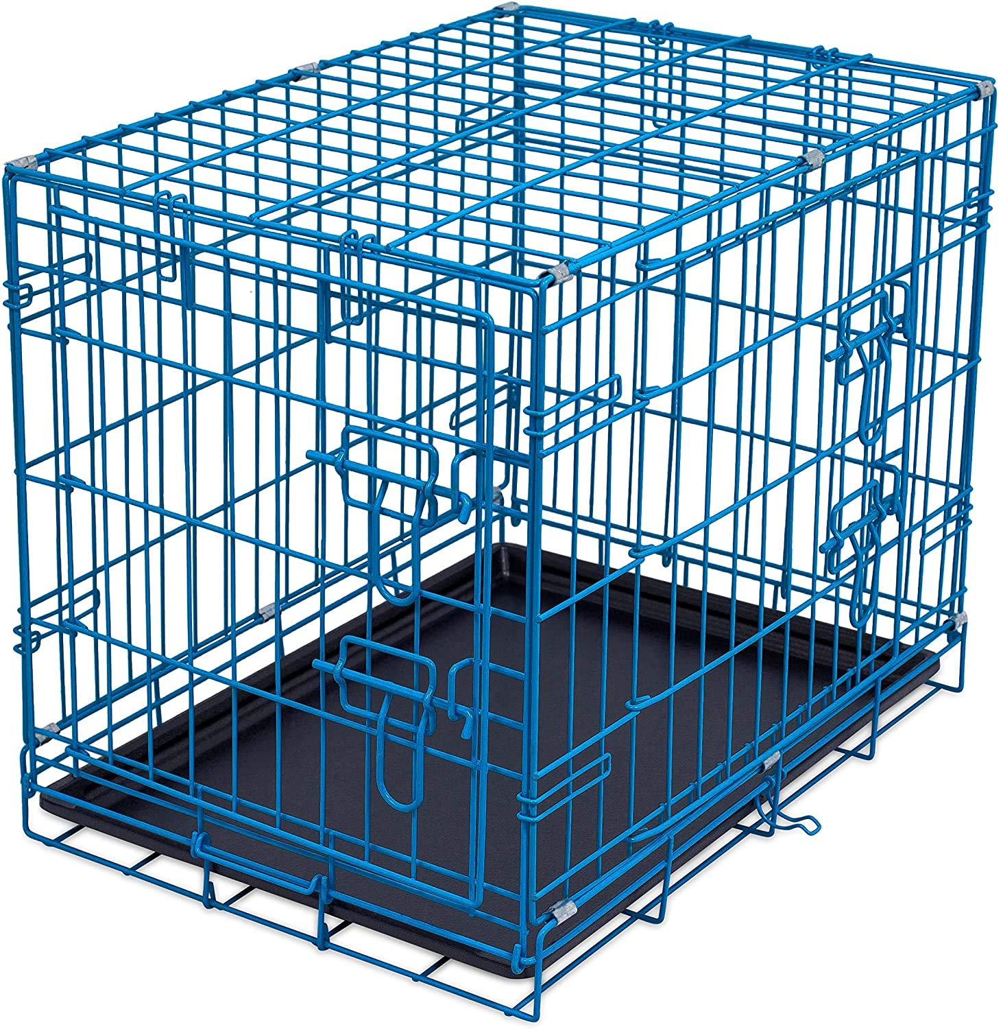 Amazon Com Internet S Best Double Door Steel Crates Collapsible And Foldable Wire Dog Kennel 24 Inch Small Blue Pet Supplies
