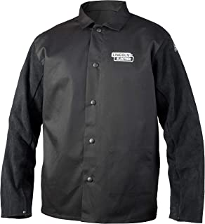 Lincoln Electric Split Leather Sleeved Welding Jacket | Premium Flame Resistant Cotton Body | Black | 2XL | K3106-2XL