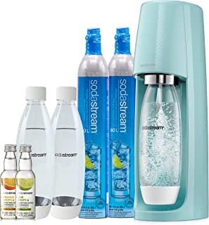 SodaStream Fizzi Sparkling Water Machine Bundle (Icy Blue) with CO2, BPA free Bottles, and 0 Calorie Fruit Drops Flavors