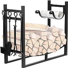 Amagabeli 3FTx30.7in Large Wide Firewood Rack Fireplace Tool Rack Indoor Outdoor Kindling Holder Heavy Duty Wood Storage L...