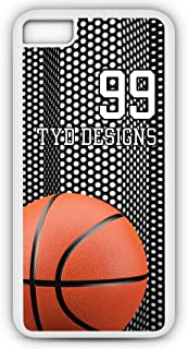 iPhone 8 Basketball Case Fits iPhone 8 or iPhone 7 Make A Custom Design Cell Phone Case with Any Jersey Number Team Name in White Rubber BK1075 by TYD Designs