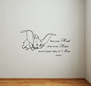 Dumbo Wall Decal Rest Your Head Close to My Heart Never to Part Baby of Mine Walt Disney Elephant Quote Lettering Vinyl St...
