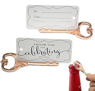 Aokbean 50pcs Multi Function Vintage Skeleton Key Bottle Opener Place Card Holders for Weddings Table Name Cards for Guest Souvenir French Ribbon (Rose Gold)