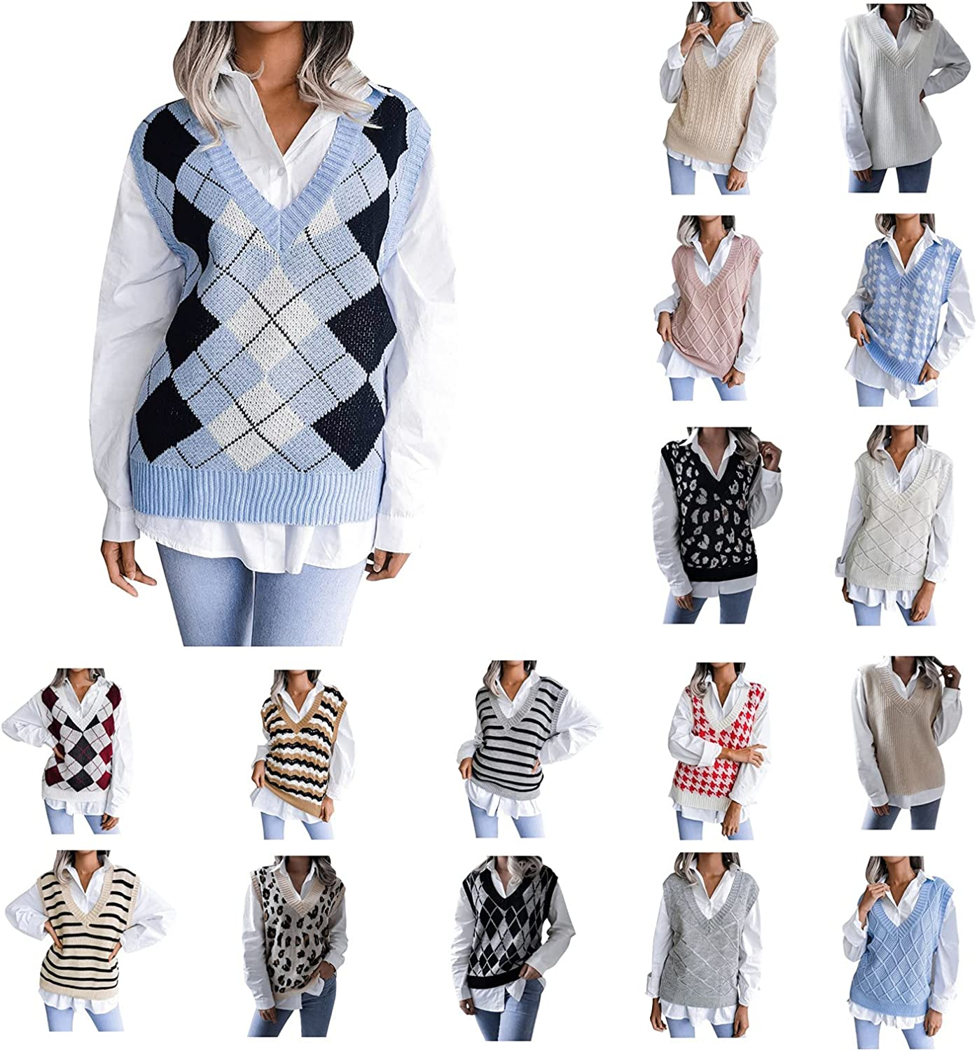 Women's College Style Casual Knitted Vest Loose Casual Diamond Pattern V-Neck Sweater Sleeveless Pullover