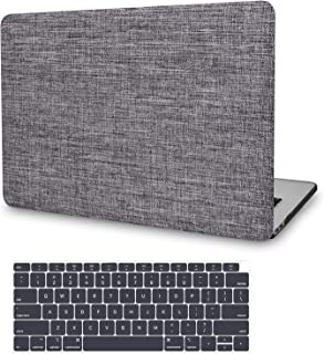MacBook Air 13 Inch Case 2019 2018 Release A1932, JGOO Fabric Laptop Hard Shell Cover, Slim Protective Snap on case with Keyboard Cover for Apple MacBook Air 13 with Retina Display & Touch ID, Grey