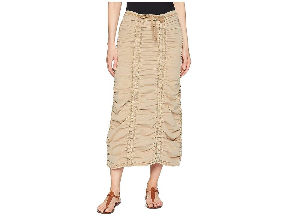 XCVI Stretch Poplin Double Shirred Panel Skirt (Nugget) Women