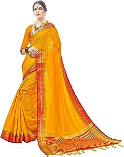 Urban India Women's Nylon Silk Jacquard Saree Free Size Yellow