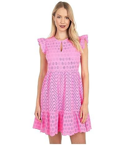 Vineyard Vines Allamanda Floral Eyelet Dress (Pink Wave) Women