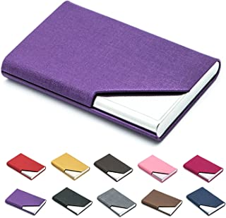Business Name Card Holder Luxury PU Leather & Stainless Steel Multi Card Case,Business Name Card Holder Wallet Credit Card ID Case/Holder for Men & Women - Keep Your Business Cards Clean (Purple) ¡