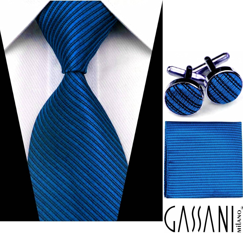 Herrenkrawatte zum Anzug GASSANI Breite klassische Krawatte 10cm einfarbig gestreift Schlips Binder mit Streifen in 19 modischen Farben