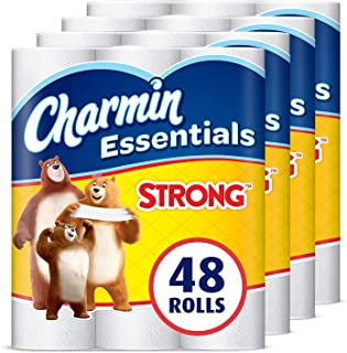 Charmin Essentials Strong Toilet Paper, 1-Ply, 48 Giant Rolls = 108 Regular Rolls
