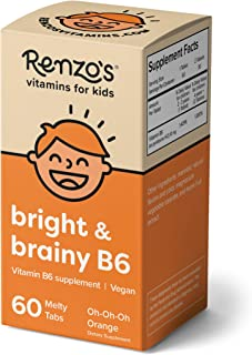 Renzo's Bright & Brainy B6, Dissolvable Vegan Vitamins for Kids, Zero Sugar, Oh-Oh-Oh Orange Flavor, 60 Mel...