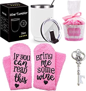 Wine Gift Set + Cupcake Wine Socks, 16oz Stainless Steel Double Insulated Wine Tumbler with Lid and Straw Unbreakable Wine Glasses,Funny Gift for Women, Mom, Grandma, Wife, Aunt, Daughter(White)