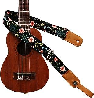 """MUSIC FIRST® 元のデザ「暗い夜の庭園」ソフトコットン&本革製ウクレレストラップウクレレショルダーストラップ (ギフトとして1つの""""MUSIC FIRST""""ブランドのストラップロッカー)"""