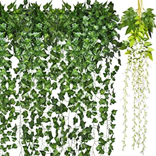 Shiny Flower Artificial Ivy Leaf Plants Vine, 12 Packs 82.7 Inch Greenery Fake Foliage Garland Hanging and 2 Packs 43.3 Inch Faux Wisteria Vine for Wedding Party Garden Indoor Outdoor Home Decor
