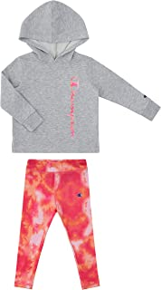 Champion Little Girls Legging Sets with Fleece and Jersey Hooded Tops Toddler and Little Girls Kids Clothes
