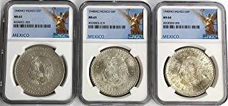 1948 MX MS-62 1948 MS-63 1948 MS-64 Mexico Silver Chief Cuahtemoc 5 Peso (Cinco Peso) 3 Coin Set NGC