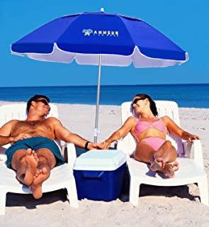 AMMSUN 2m Portable Folded Beach Umbrella Fits in Suitcase Does not Include The Sand Anchor in The Picture with Tilt Silver...