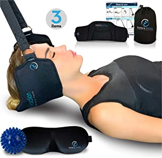 ProNeck Traction, Improved Head Hammock/Cervical Neck Traction - Shoulders & Upper Back Pain Relief - Neck Stretcher with a Spiky Ball Massager & 3D Eye Mask - Great Relaxation Gift