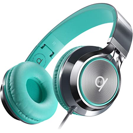 Artix CL750 Foldable Noise Isolating On Ear Headphones Wired with Microphone and Volume Control, Stereo Head Phones Corded with Adjustable Headband for Computer, Laptop and Cell Phone (Turquoise/Gray)