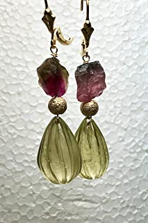 Raw Watermelon Tourmaline Earrings fluted Lemon drop earrings from Gem Bliss Jewelry