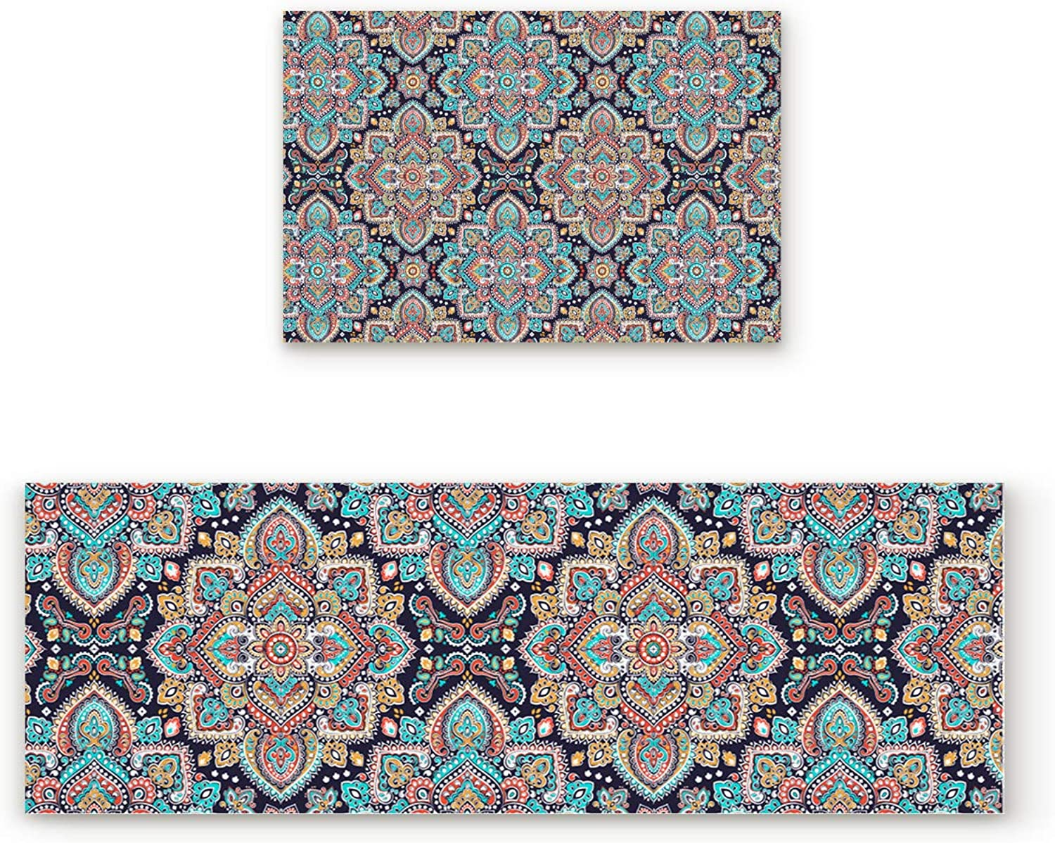 Aomike 2 Piece Non-Slip Kitchen Mat Rubber Backing Doormat Indian Mandala Floral Pattern Runner Rug Set Hallway Living Room Balcony Bathroom Carpet Sets (23.6  x 35.4 +23.6  x 70.9 )