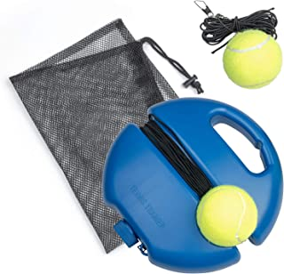 Tennis Training Rebound Ball, Portable Tennis Training Tool with 1 Base Holder and 2 String Balls and Elastic Rope, Solo Practice Tennis Training Equipment Kit for Beginners, Children and Adults