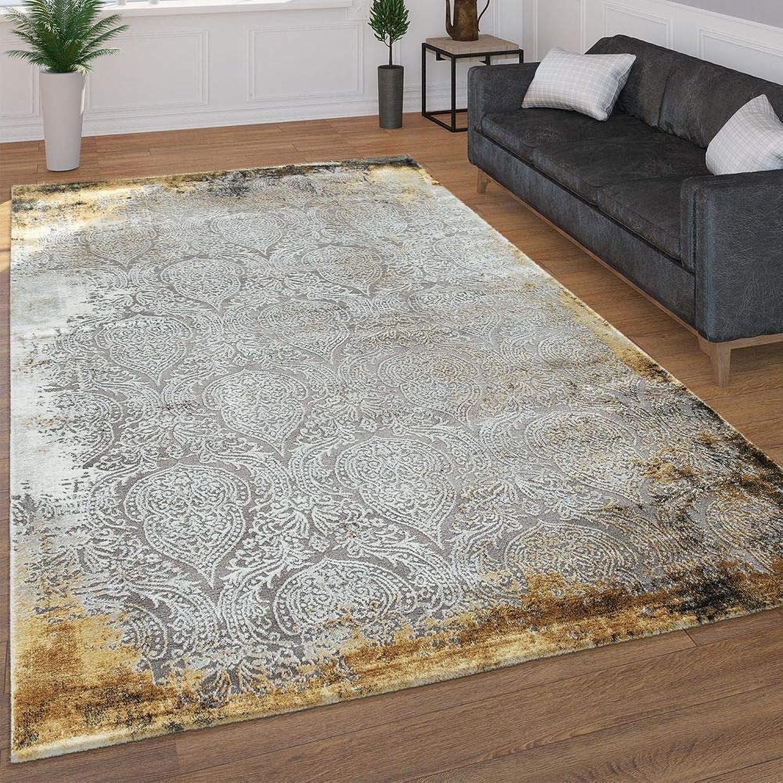 Paco Home Moderner Kurzflor Wohnzimmer Teppich 3D Optik Orientalisches Muster In Grau Gelb, Grsse 160x230 cm