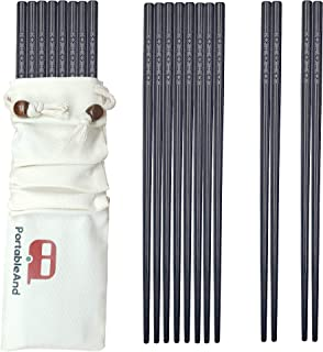 PortableAnd 10-pairs Fiberglass Reusable Chopsticks Gift Sets Dishwasher Safe 9 1/2 Inches for Sushi, Noodles and Asian Food with Multi-purpose Cotton Drawstring carry case (10 pairs)