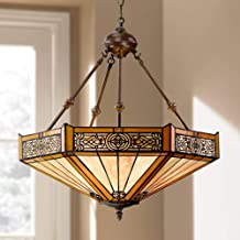 """Stratford Bronze Tiffany Pendant Chandelier 20 3/4"""" Wide Mission Stained Glass 3-Light Fixture for Dining Room House Foyer..."""