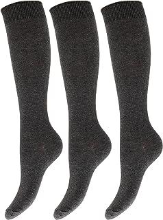 Severyn, Calcetines lisos altos hasta la rodilla de uniforme de colegio para niños/niñas (pack de 3)