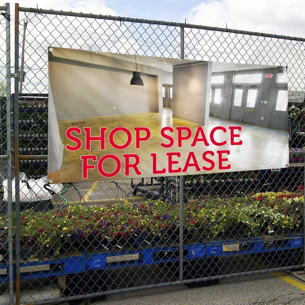 Vinyl Banner Multiple Sizes Shop Space for Lease Advertising Printing Business Outdoor Weatherproof Industrial Yard Signs White 8 Grommets 48x96Inches