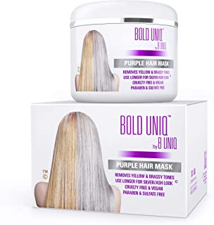 Purple Hair Mask For Blonde, Platinum, Silver Hair - Banish Yellow Hues: Blue Masque to Reduce Brassiness & Condition Dry Damaged Hair - Sulfate-Free Toner - 7.27 Fl. Oz / 215 ml