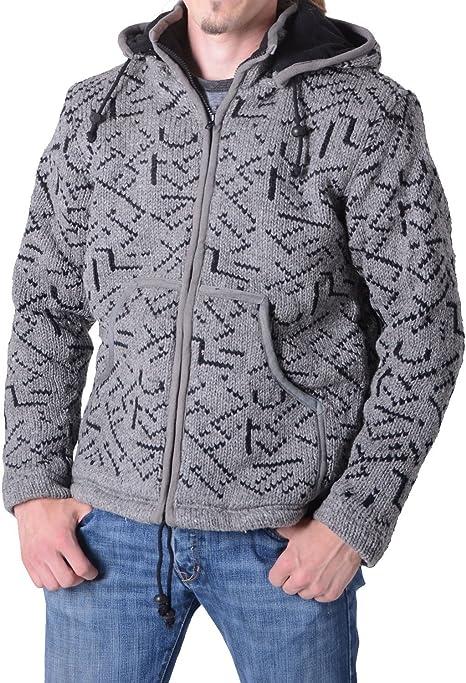 FLM Strickjacke Strickjacke Herren Strickjacke 1.0 Freizeitbekleidung Strick Jacke Rei/ßverschluss-Au/ßentaschen warmes Innenfleece farblich abgesetztes
