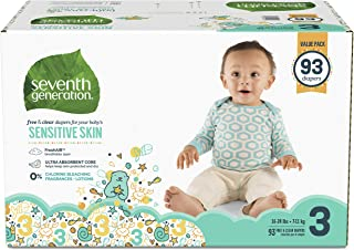 Seventh Generation Baby Diapers for Sensitive Skin, Animal Prints, Size 3, 93 Count