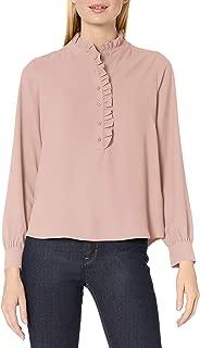 Lark & Ro Women's Long Sleeve Ruffle Placket Button-Up Blouse, Blush, 8