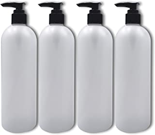 Sanitaz - Empty Refillable 16oz White Bottle with Black Pump - Use for Liquid Soaps, Lotions, Oils and More (4-Pack)