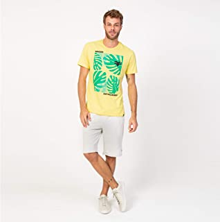 Camisa T-shirt Amarela e verde folhas