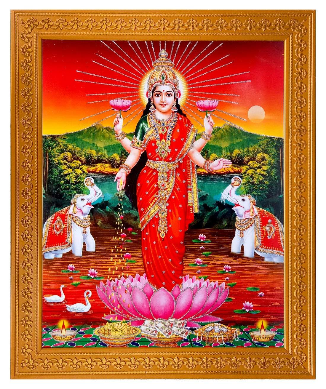 Shree Handicraft Poster Of Shree Laxmi Mata Vaibhav Laxmi Painting Photo Frame Painting Wall Mount 32 Cm X 26 Cm X 1 5 Cm Acrylic Sheet Used Amazon In Home Kitchen