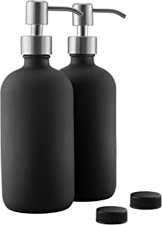 16oz Black Glass Bottles w/Stainless Steel Pumps (2-Pack); Black Coated Boston Round; Lotion, Hand Care & Soap Dispensers