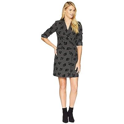 Calvin Klein Flower Print Coat Dress CD8E23TR (Charcoal/Black) Women