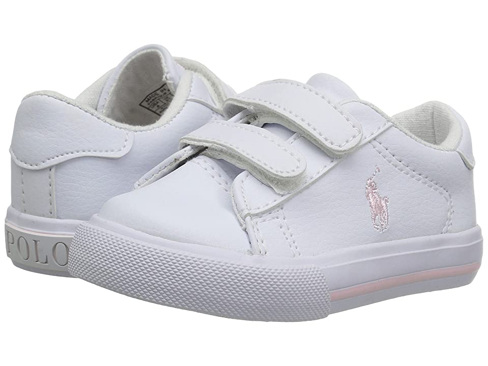 Polo Ralph Lauren Kids Easten EZ (Toddler) (White Tumbled/Light Pink Pony Player) Kid