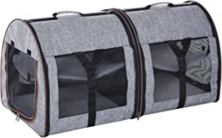 """PawHut 39"""" Portable Soft-Sided Pet Cat Carrier with Divider, Two Compartments, Soft Cushions, & Storage Bag, Grey"""