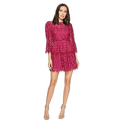 Laundry by Shelli Segal Mock Neck Lace Dress with Scallop Hem (Boysenberry) Women