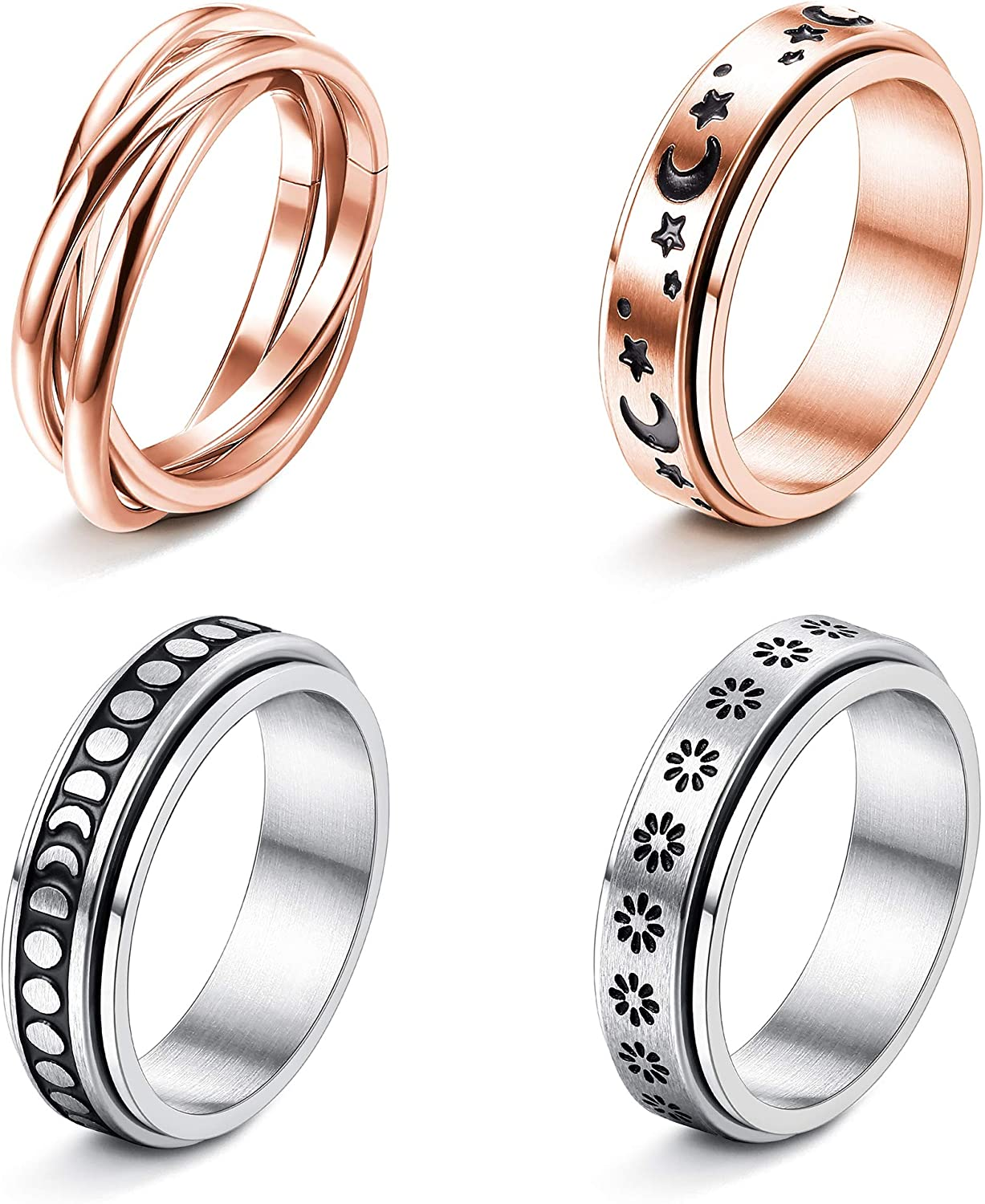 FUNRUN JEWELRY 4 Pcs Stainless Steel Spinner Ring for Women Mens Fidget Band Rings Moon Star Celtic Stress Relieving Wide Wedding Promise Rings Set
