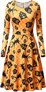 Womens Halloween Long Sleeve Round Neck Casual Printed Flared Party Dress