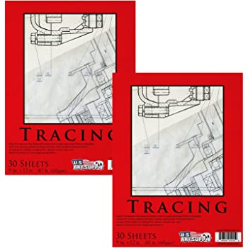 """U.S. Art Supply 9"""" x 12"""" Premium Tracing Paper Pad, 40 Pound (60gsm), Medium Weight with Fine Textured Paper, 30-Sheets (Pack of 2 Pads)"""