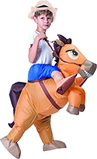 Spooktacular Creations Inflatable Cowboy Riding a Horse Air Blow-up Deluxe Halloween Costume - Child