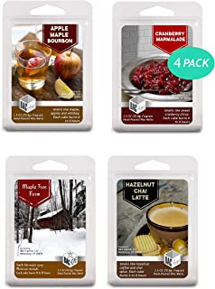 BAC Home 4 Pack - Autumn Collection Soy Blend Scented Wax Melts Wax Cubes, 10.0 oz, [24 Cubes] with Apple Maple Bourbon, Hazelnut Chai Latte, Cranberry Marmalade and Maple Tree Farm